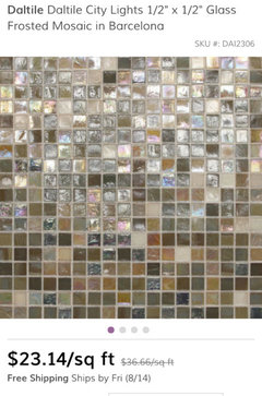 jackiethe small mosaic is gorgeous iu0027m sure the designers can assist you with this tile hereu0027s some infoclick photos wayfaircom