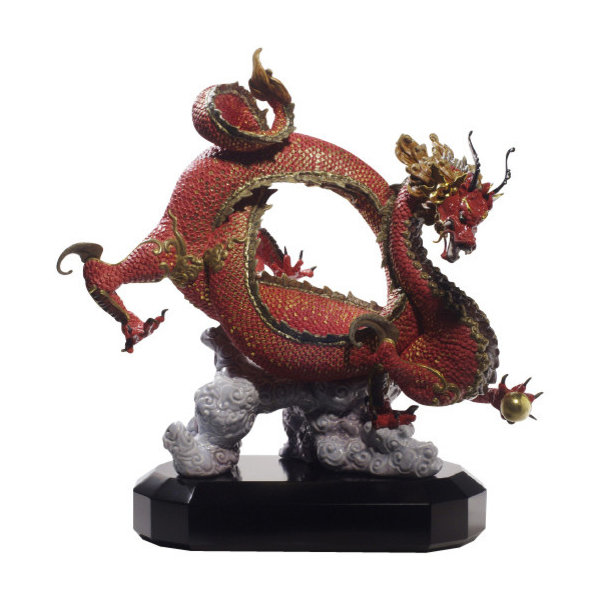 Lladro Auspicious Dragon Red Figurine