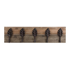 Decorative Rustic Wood/ Metal Leaves Coat Rack