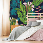 Murals Your Way - Tropical Jungle Pattern Wallpaper Mural, Small - Give your space a totally tropical vibe with this palm tree and banana leaf pattern. The bold colors and modern design of this wallpaper mural will create an on-trend backdrop for any room in your home.