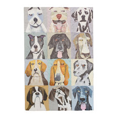 Contemporary 12-Piece Emotional Dogs Hand Painted Canvas Oil Painting Set