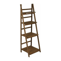 Modern Storage Ladder Shelf, Brown Finished MDF With 4 Open Compartment
