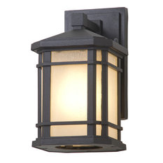 Cardiff 1-Light Outdoor Wall Sconce, Black With Sand Blasted Seedy Glass