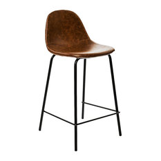 Industrial Faux Leather Bar Stool With Black Metal Legs, Red-Brown
