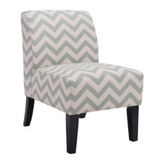 Contemporary Chevron Print Zig-Zag Wave Upholstered Armless Accent Chair