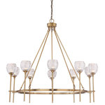 Savoy House - Savoy House Garland Warm Brass 10 Light Chandelier - Designed by Karyl Pierce Paxton, the Savoy House Garland 10-light chandelier has a beautiful, timeless appeal. Its open hoop style has arms topped off with cut glass shades that feature eye-catching designs. It is finished in warm brass and includes G9 bulbs.