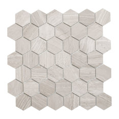 Cooper Mosaic Wall and Floor Tile, Wooden White Marble, Set of 10