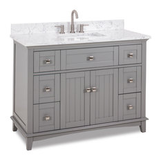 48-inch Grey VanitySatin Nickel HardwareCarrara-Look Engineered Marble TopBowl