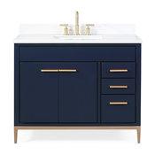 """42"""" Beatrice Modern Brown Bathroom Vanity, Navy Blue"""