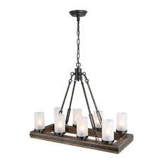 LNC 8-Lights Chandelier Island Pendant Lights Rustic Wood Metal Adjustable
