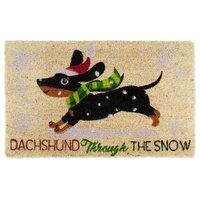 """Dachshund Through The Snow Doormat, 18""""x30"""""""