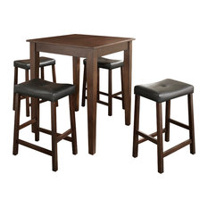 5Pc Pub Dining Set W/Upholstered Saddle Stools- Pub Table, 4 Bar Stools