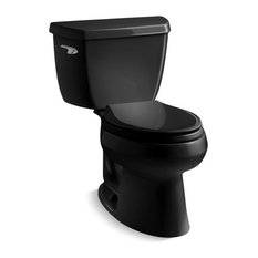 Kohler Wellworth 2-Piece Elongated 1.28 GPF Toilet w/ Left-Hand Lever, Black