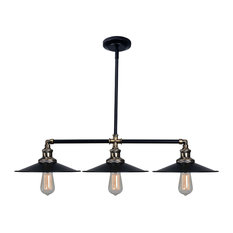 """Kenroy Home 93377 Ancestry 3 Light 39"""" Wide Linear Chandelier with Black Metal"""