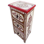 moroccan furniture bazaar - Moroccan Nightstand With 3-Drawers, Handpainted - One of the most beautiful and treasured forms of Moroccan woodwork. This wood beautiful Dresser is handcrafted by talented Moroccan artisans using traditional tools and techniques. Add a colorful, exotic touch to your decor with Moroccan Dresser. It can be in your bedroom as a dresser or in your office, it has 3 drawers for storage.
