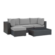 Sojourn 5-Piece Outdoor Wicker Rattan Sunbrella Sectional Set, Canvas Gray