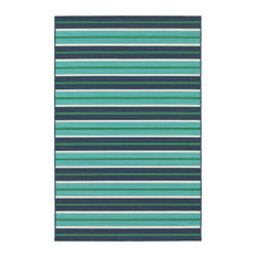 "Madelina Stripe Blue and Green Indoor or Outdoor Area Rug, 7'10""x10'10"""