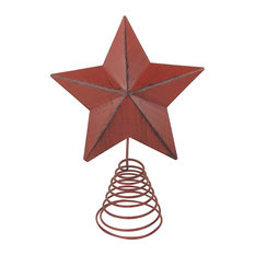 Craft Outlet - Barn Star Tree Toppers, Set of 2, Red - Christmas Ornaments