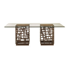 South Sea Dining Table With 84x48 Inch Glass Top