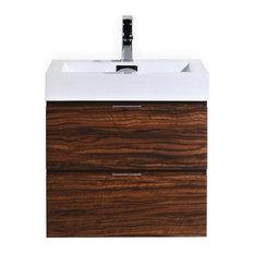 "Bliss 24"" Walnut Wall Mount Modern Bathroom Vanity"