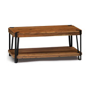 """Ryegate Natural Live Edge Solid Wood With Metal Coffee Table, Natural, 48""""x32"""""""