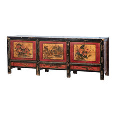 83-inchW Sideboard Solid Hardwood Cabinetry Oriental Floral Painting