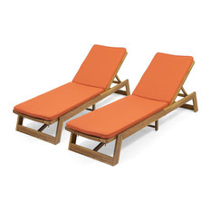 Astrid Outdoor Acacia Wood Chaise Lounge and Cushion Sets, Set of 2, Orange