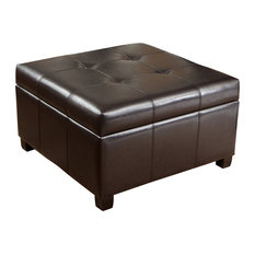 GDFStudio   Boston Tufted Leather Storage Ottoman Coffee Table   Footstools  And Ottomans