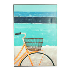 Contemporary Retro Abstract Bicycle Oil Painting Basket Coastal Canvas