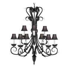Wrought Iron Chandelier With Black Shades