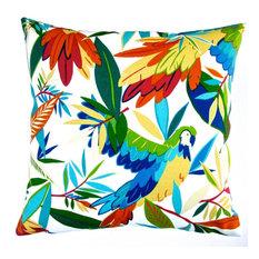 "Artisan Pillows Outdoor 18"" Tropical Birds Throw Pillow, Set of 2"