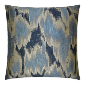 Watermark Blue Feather Down Decorative Throw Pillow, 24x24