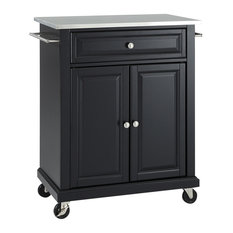 Stainless Steel Top Portable Kitchen Cart/Island, Black Finish