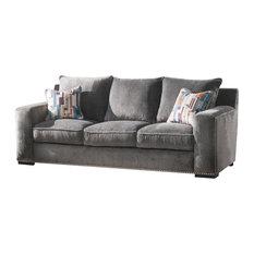 Acme Furniture   Acme Ushury Down Feather Sofa With 2 Pillows, Gray Fabric    Sofas
