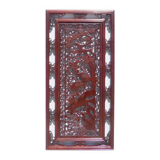 Chinese Oriental Rectangular Vertical Birds Wood Wall Panel