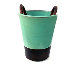 Hand-Thrown Ceramic Glazed Decorative Vase With Looped Handles