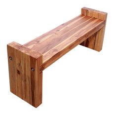 "Haussmann Farmed Teak Wood Block Bench 48""x12""x16"" Seat, Livos Oak Oil"