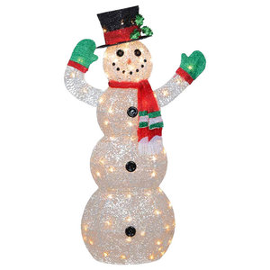 Pre Lit Outdoor Chenille Swirl Large Snowman With Top Hat Christmas Decoration Outdoor Holiday Decorations By Northlight Seasonal
