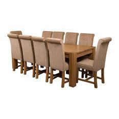 Kuba Chunky Oak Dining Table With 10 Washington Chairs, Beige Velvet Effect