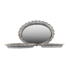 Oval Metal Trays with Mirror Surface and Pierced Metal Sides, Silver, Set of 3