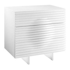 Moon High Gloss White Lacquer Tall Dresser/Nightstand