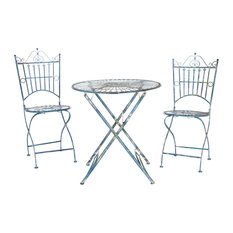 Belen Bistro Set, One Table and Two Chairs Antique Blue