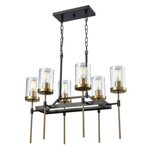 North Haven 6-Light Chandelier, Oil Rubbed Bronze/Satin Brass Accents