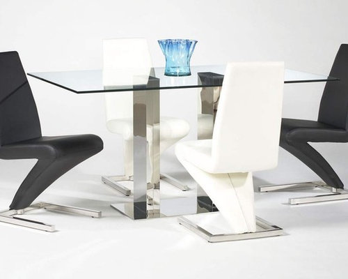Extravagant Rectangular Glass Top Leather Dining Furniture Set   Dining  Tables