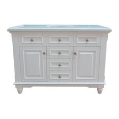 "48"" Single Bathroom Vanity With Marble Top and Backsplash, Transitional White"