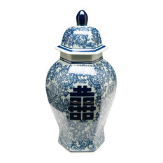 Antiqued Pale Green and Blue Ginger Jar With Lid