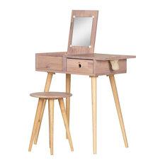 Scandinavian Vanity Set, Pine Wood Body With Flip Up Mirror and Drawer, Pink