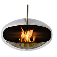 Cocoon Aeris Polished Stainless Steel Hanging Fireplace