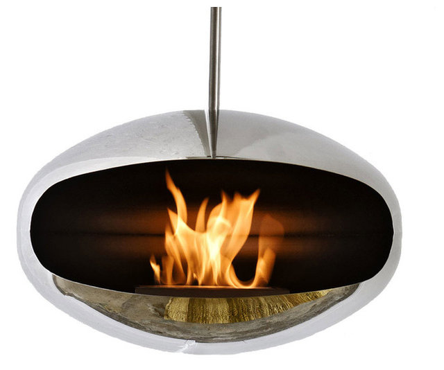 Modern Stainless Steel Hanging Fireplace, Cocoon Aeris