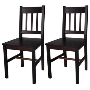 vidaXL Set of 2 Wood Dining Chairs, Brown